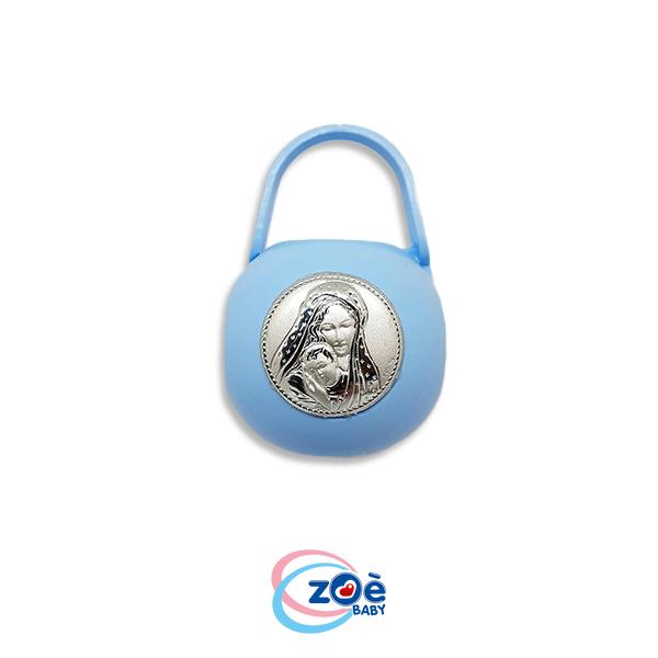 Borsetta argento immagini sacre azzurro