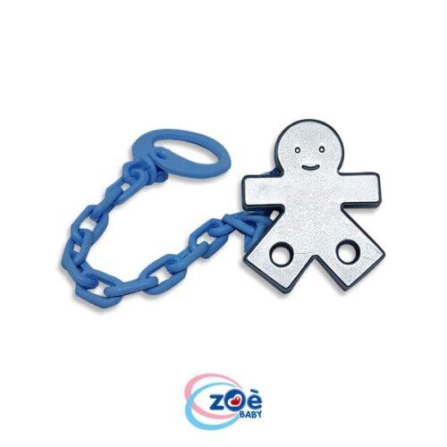 Catenella con clip bebe metalizzata azzurro
