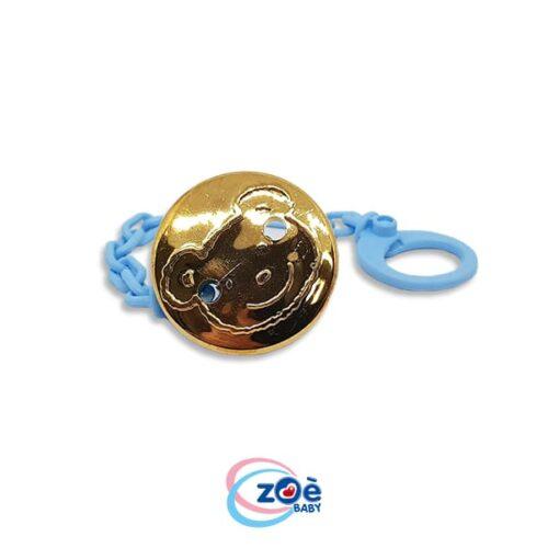 Catenella con clip orso oro azzurro