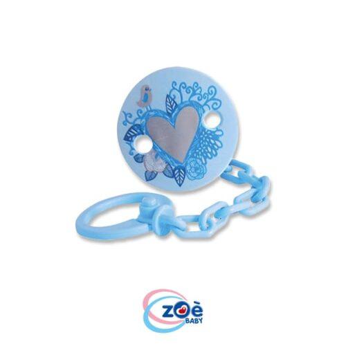 Catenella con clip tonda cuore azzurro