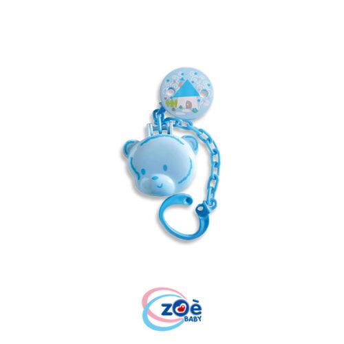 Proteggi succhietto con clip e catenella orso azzurro