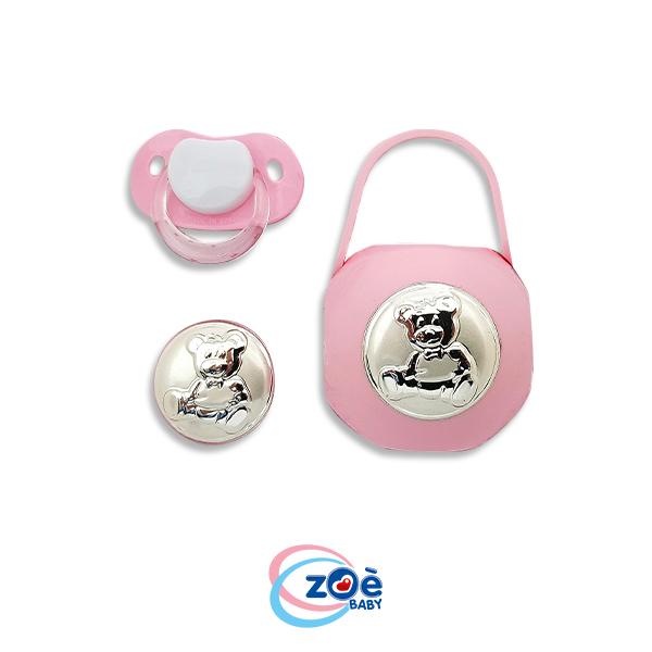 Tris argento orso rosa