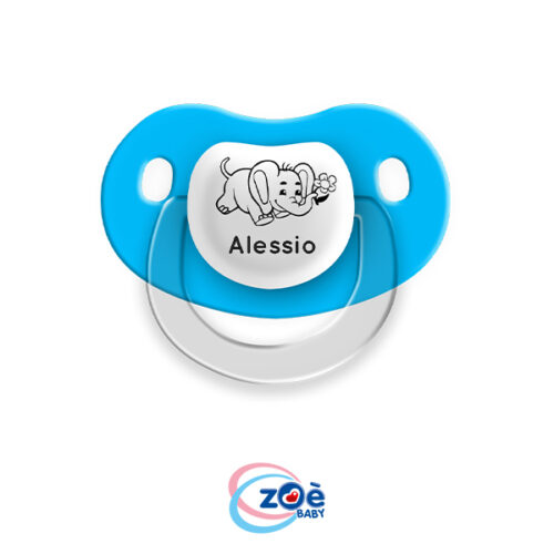 Succhietto personalizzato Azzurro Elefantino